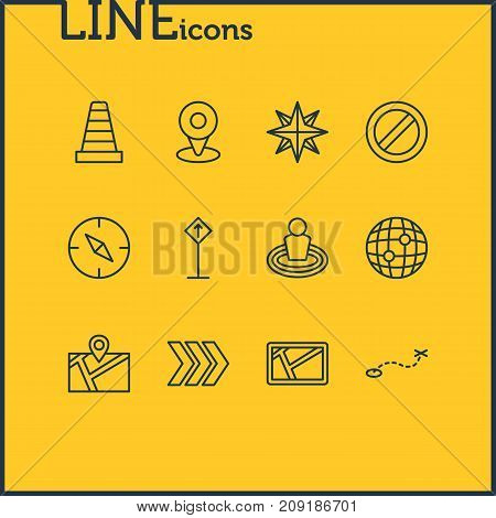 Editable Pack Of Block, Place, Orientation And Other Elements.  Vector Illustration Of 12 Location Icons.