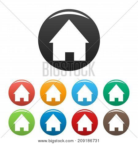 Home icons set. Vector simple set of home vector icons in different colors isolated on white
