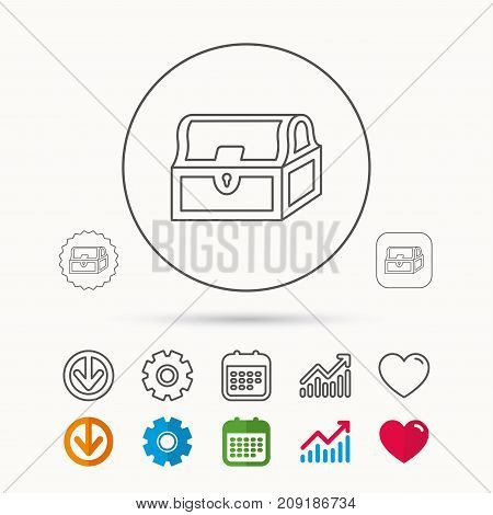 Treasure chest icon. Piratic treasury sign. Wealth symbol. Calendar, Graph chart and Cogwheel signs. Download and Heart love linear web icons. Vector