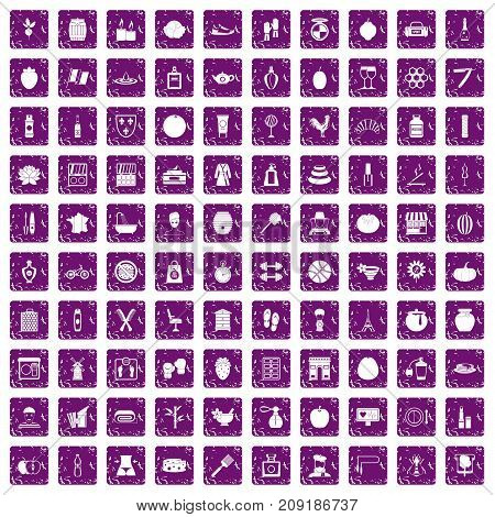 100 beauty product icons set in grunge style purple color isolated on white background vector illustration