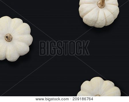 Autumn frame made of white pumpkins isolated on black background. Fall, Halloween and Thanksgiving concept. Modern styled stock flat lay photography, top view. Empty space for your text.