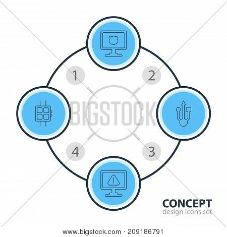 Editable Pack Of Modern Watch, Antivirus, Usb Icon And Other Elements.  Vector Illustration Of 4 Notebook Icons.