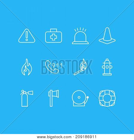 Editable Pack Of Siren, Exclamation, Ax And Other Elements.  Vector Illustration Of 12 Necessity Icons.