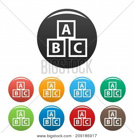 Education abc blocks icons set. Vector simple set of education abc blocks vector icons in different colors isolated on white