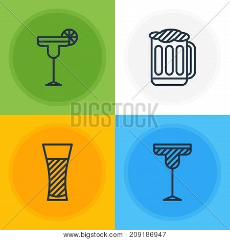 Editable Pack Of Draught, Lemonade, Cocktail And Other Elements.  Vector Illustration Of 4 Beverage Icons.