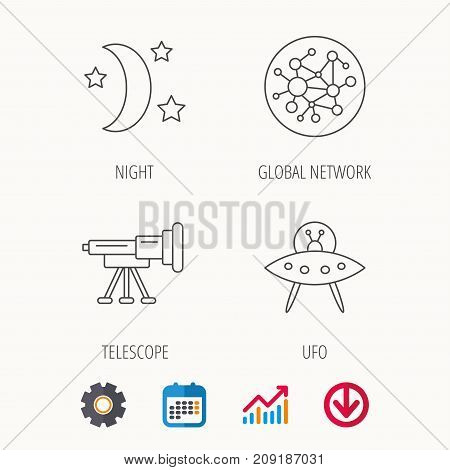 Ufo, global network and telescope icons. Night linear sign. Calendar, Graph chart and Cogwheel signs. Download colored web icon. Vector