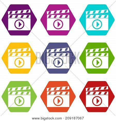 Clapperboard for movie shooting icon set many color hexahedron isolated on white vector illustration