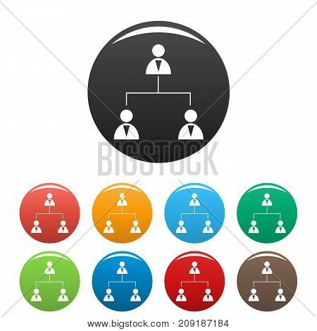 Business structure icons set. Vector simple set of business structure vector icons in different colors isolated on white