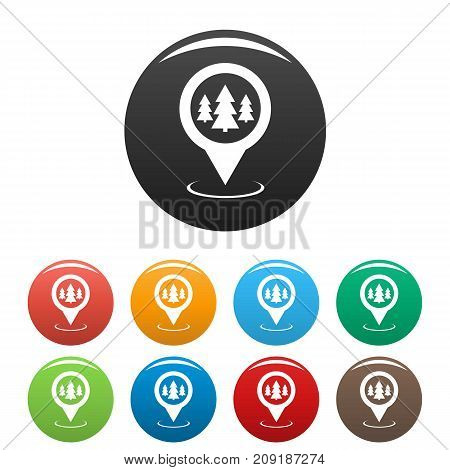 Forest map pointer icons set. Vector simple set of forest map pointer vector icons in different colors isolated on white