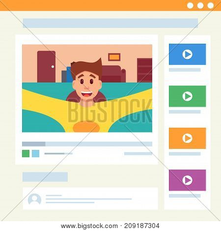 Cute man video blogging in web interface. Vector illustration cartoon style