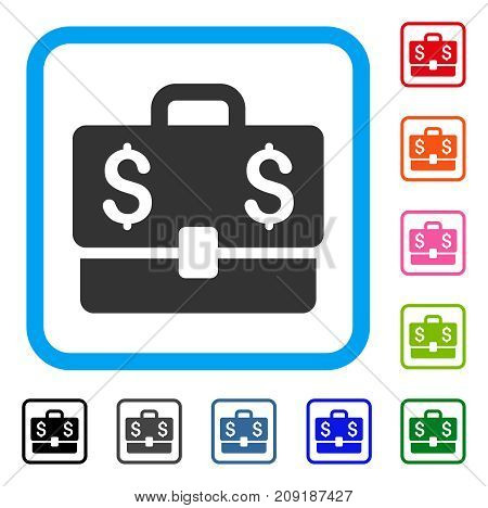 Accounting Case icon. Flat gray iconic symbol in a light blue rounded square. Black, gray, green, blue, red, orange color versions of Accounting Case vector. Designed for web and software UI.