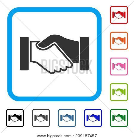 Acquisition Handshake icon. Flat gray iconic symbol in a light blue rounded square. Black, gray, green, blue, red, orange color versions of Acquisition Handshake vector.