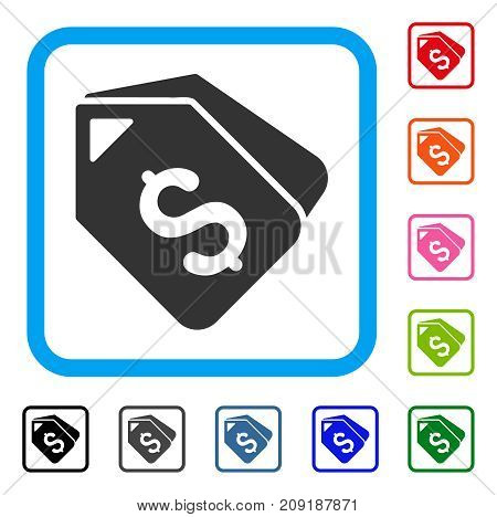 Bank Account Tags icon. Flat gray pictogram symbol in a light blue rounded rectangle. Black, gray, green, blue, red, orange color variants of Bank Account Tags vector. Designed for web and app UI.
