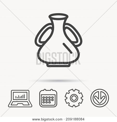 Vase icon. Decorative vintage amphora sign. Notebook, Calendar and Cogwheel signs. Download arrow web icon. Vector
