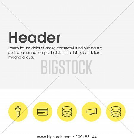Editable Pack Of Payment, Minus, Money And Other Elements.  Vector Illustration Of 5 Commerce Icons.