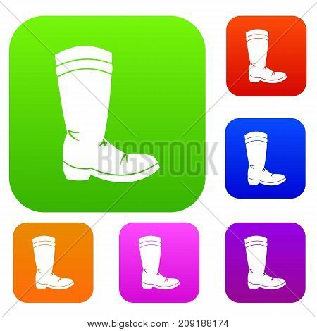 Cowboy boot set icon color in flat style isolated on white. Collection sings vector illustration