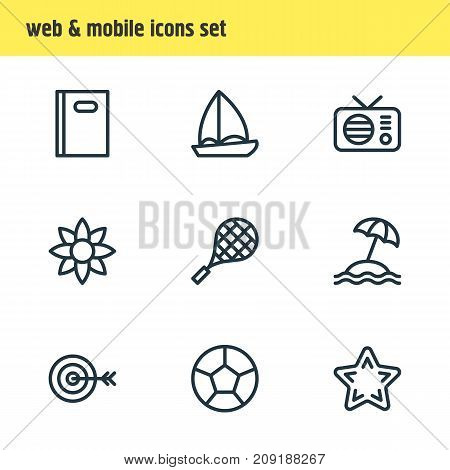 Editable Pack Of Yacht, Dartboard, Fm And Other Elements.  Vector Illustration Of 9 Entertainment Icons.