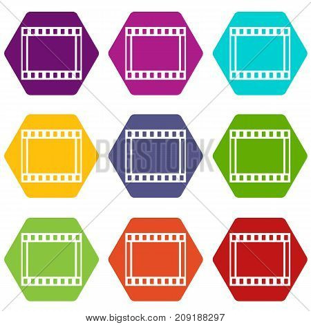 Film with frames movie icon set many color hexahedron isolated on white vector illustration
