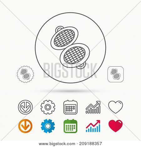 Waffle iron icon. Kitchen baking tool sign. Calendar, Graph chart and Cogwheel signs. Download and Heart love linear web icons. Vector