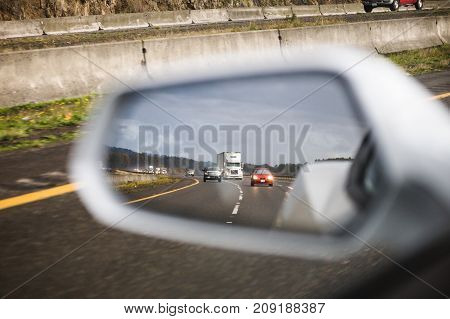 Traffic In Side View Mirror