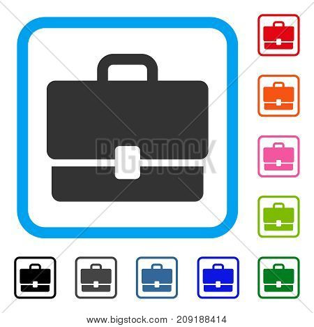 Case icon. Flat grey pictogram symbol in a light blue rounded frame. Black, gray, green, blue, red, orange color variants of Case vector. Designed for web and application UI.