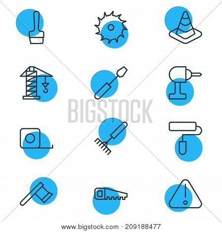 Editable Pack Of Turn Screw, Electric Screwdriver, Harrow And Other Elements.  Vector Illustration Of 12 Industry Icons.