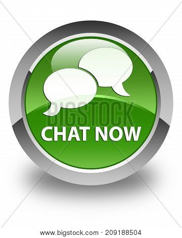 Chat Now Glossy Soft Green Round Button