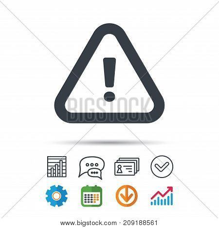 Warning icon. Attention exclamation mark symbol. Statistics chart, chat speech bubble and contacts signs. Check web icon. Vector