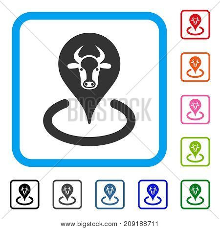 Cattle Location icon. Flat grey pictogram symbol in a light blue rounded squared frame. Black, gray, green, blue, red, orange color variants of Cattle Location vector.