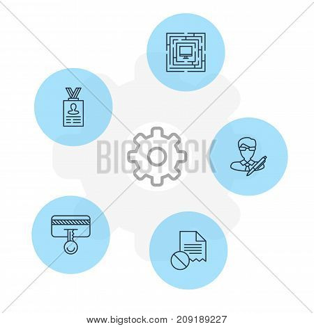 Editable Pack Of Safety Key, Copyright, Data Error And Other Elements.  Vector Illustration Of 5 Security Icons.