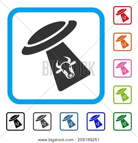 Cattle UFO Abduction icon. Flat grey pictogram symbol inside a light blue rounded squared frame. Black, gray, green, blue, red, orange color variants of Cattle UFO Abduction vector.
