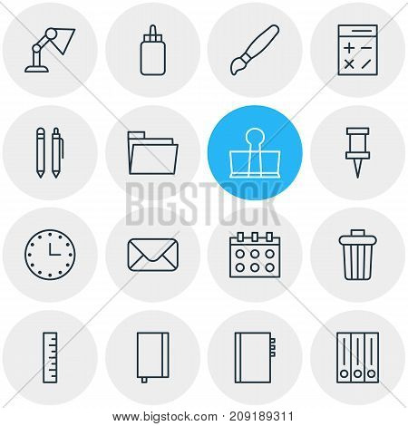 Editable Pack Of Letter, Textbook, Copybook And Other Elements.  Vector Illustration Of 16 Instruments Icons.