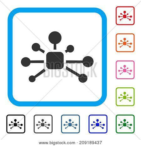 Connection Relations icon. Flat grey pictogram symbol in a light blue rounded square. Black, gray, green, blue, red, orange color versions of Connection Relations vector. Designed for web and app UI.