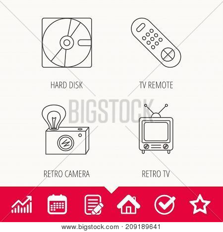 Hard disk, retro camera and TV remote icons. Vintage TV linear sign. Edit document, Calendar and Graph chart signs. Star, Check and House web icons. Vector