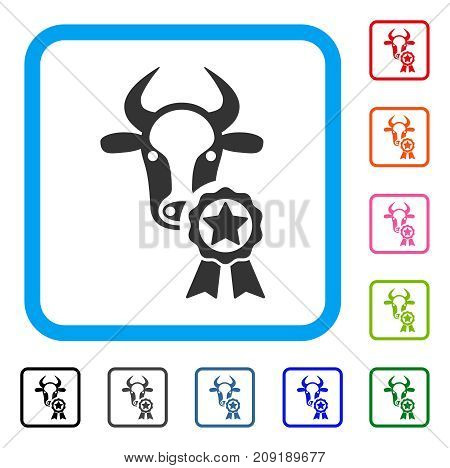 Cow Award icon. Flat gray iconic symbol in a light blue rounded frame. Black, gray, green, blue, red, orange color versions of Cow Award vector. Designed for web and software UI.