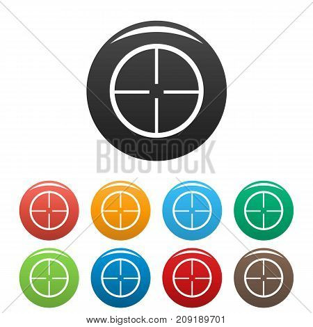 Aim icons set. Vector simple set of aim vector icons in different colors isolated on white