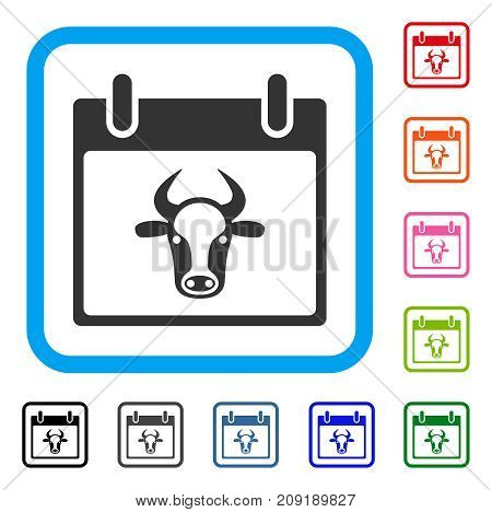 Cow Calendar Page icon. Flat grey iconic symbol in a light blue rounded frame. Black, gray, green, blue, red, orange color variants of Cow Calendar Page vector. Designed for web and application UI.