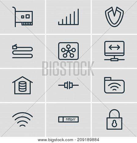 Editable Pack Of Card, Wire, Archive And Other Elements.  Vector Illustration Of 12 Network Icons.