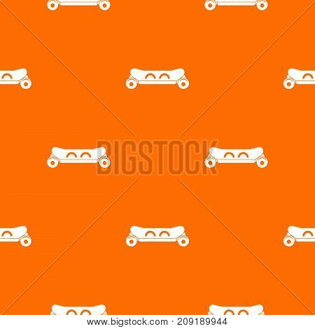 Skateboard deck pattern repeat seamless in orange color for any design. Vector geometric illustration