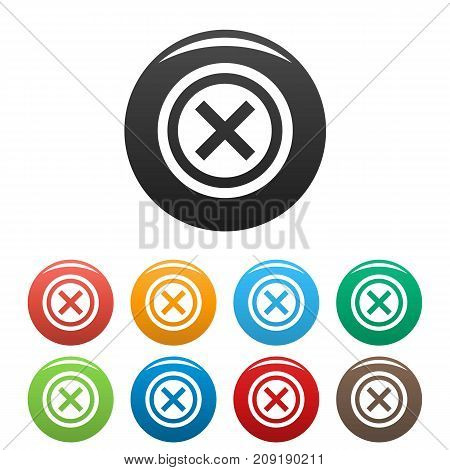 Not icons set. Vector simple set of not vector icons in different colors isolated on white