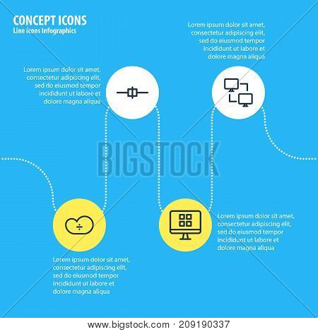 Editable Pack Of Cable, Cloud Storage, System And Other Elements.  Vector Illustration Of 4 Network Icons.