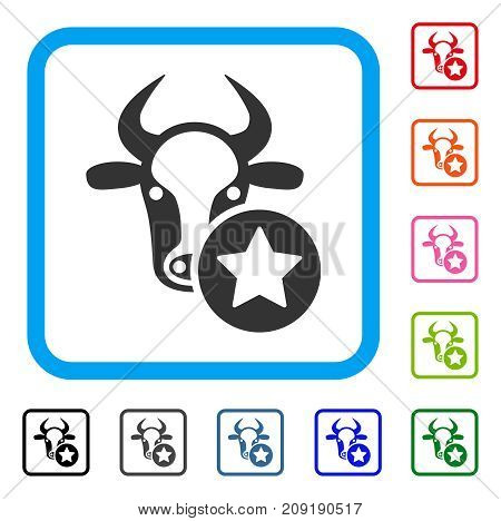 Cow Favourites icon. Flat grey pictogram symbol inside a light blue rounded square. Black, gray, green, blue, red, orange color versions of Cow Favourites vector. Designed for web and app interfaces.