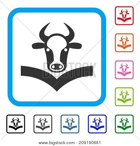 Cow Handbook icon. Flat grey iconic symbol inside a light blue rounded squared frame. Black, gray, green, blue, red, orange color versions of Cow Handbook vector. Designed for web and app UI.