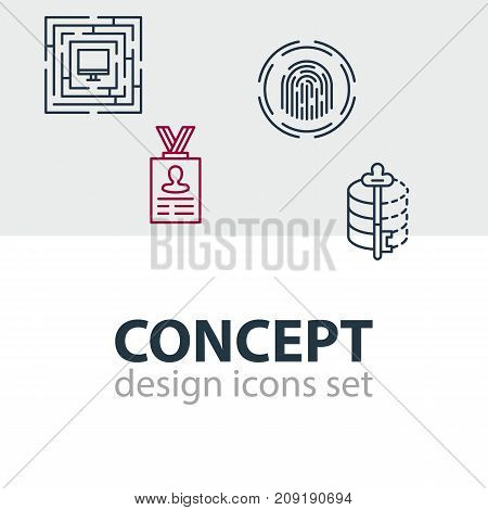 Editable Pack Of System Security, Encoder, Account Data And Other Elements.  Vector Illustration Of 4 Protection Icons.