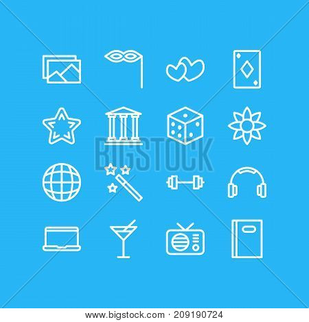 Editable Pack Of Poker, Fm, Favorite And Other Elements.  Vector Illustration Of 16 Leisure Icons.