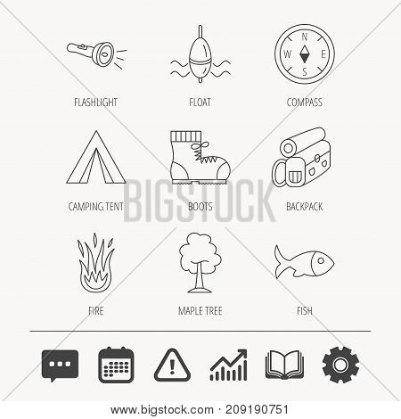 Maple tree, fishing float and hiking boots icons. Compass, flashlight and fire linear signs. Camping tent, fish and backpack icons. Education book, Graph chart and Chat signs. Vector