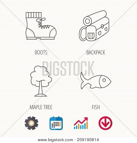 Maple tree, fish and hiking boots. Backpack linear sign. Calendar, Graph chart and Cogwheel signs. Download colored web icon. Vector
