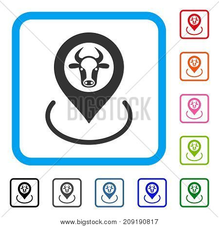 Cow Location icon. Flat gray pictogram symbol in a light blue rounded rectangular frame. Black, gray, green, blue, red, orange color variants of Cow Location vector.