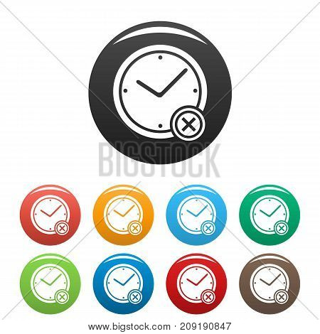 No time icons set. Vector simple illustration of no time icons isolated on white background