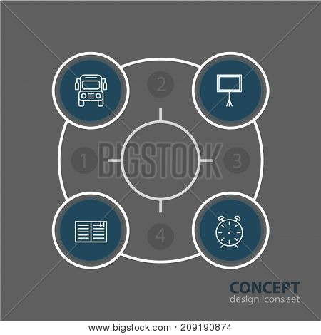 Editable Pack Of Clock, Textbook, Write Table And Other Elements.  Vector Illustration Of 4 Studies Icons.